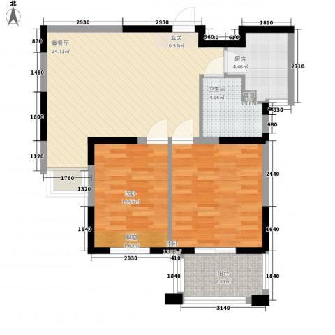 金山福地2室1厅1卫1厨88.00㎡户型图