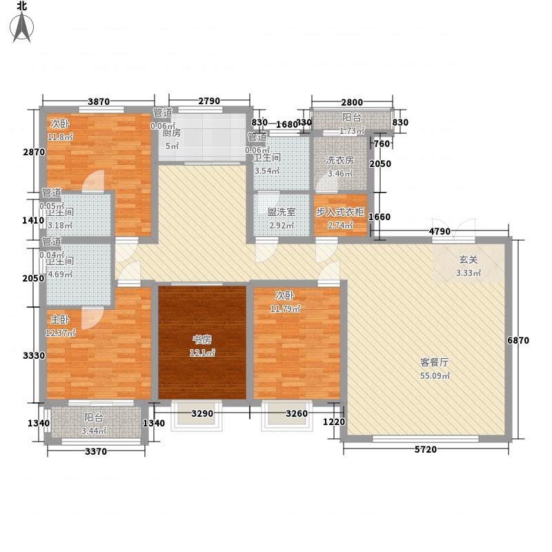 河畔曙光4室1厅3卫1厨134.09㎡户型图