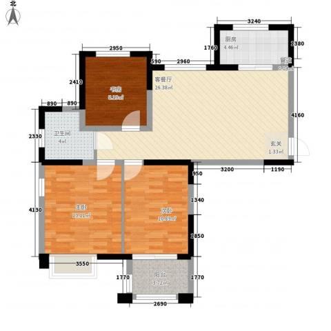 金山福地3室1厅1卫1厨70.79㎡户型图