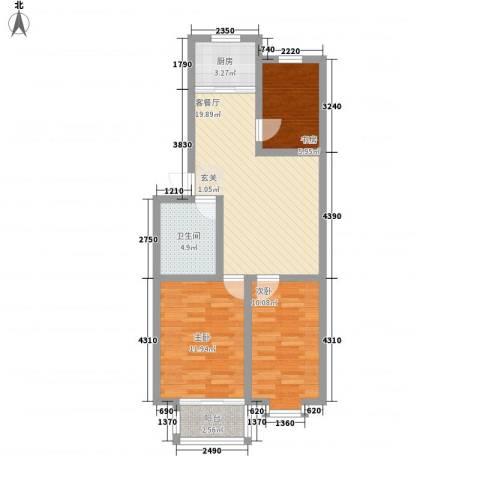 明程锦绣园3室1厅1卫1厨86.00㎡户型图