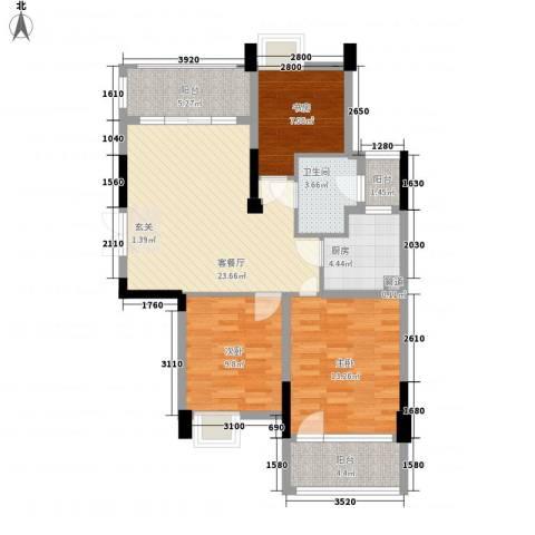 华孚花园3室1厅1卫1厨106.00㎡户型图