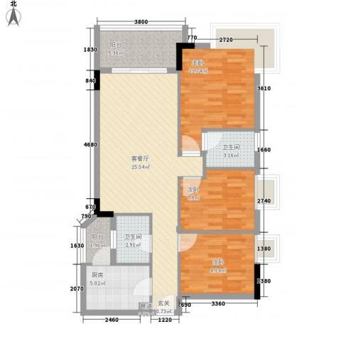 江南新苑3室1厅2卫1厨103.00㎡户型图