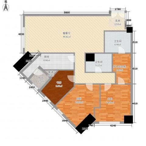 �臣津湾一品3室1厅2卫1厨169.00㎡户型图
