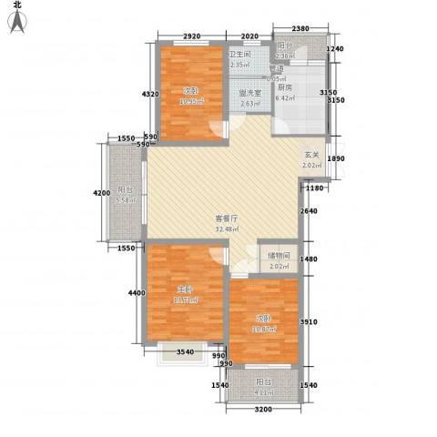 天颐郦城3室1厅1卫1厨134.00㎡户型图
