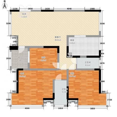 香山人家3室1厅2卫1厨187.00㎡户型图