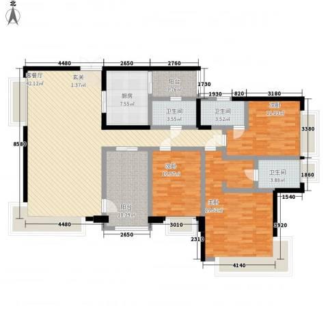 金域廊院3室1厅3卫1厨168.00㎡户型图