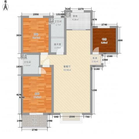 银畔丽苑3室1厅2卫1厨116.00㎡户型图