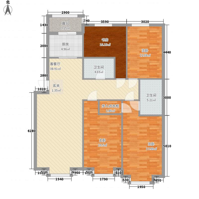 龙畔金泉151.30㎡龙畔金泉户型图二期户型4室2厅2卫1厨户型4室2厅2卫1厨