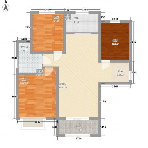 众诚五福苑3室1厅1卫1厨76.68㎡户型图