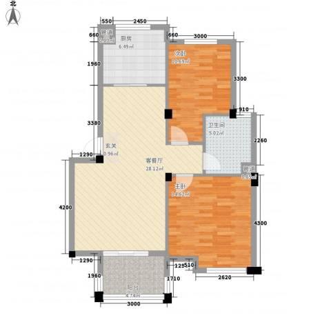 阳鸿新城2室1厅1卫1厨98.00㎡户型图