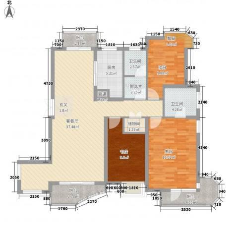 中铁人才家园3室1厅2卫1厨146.00㎡户型图