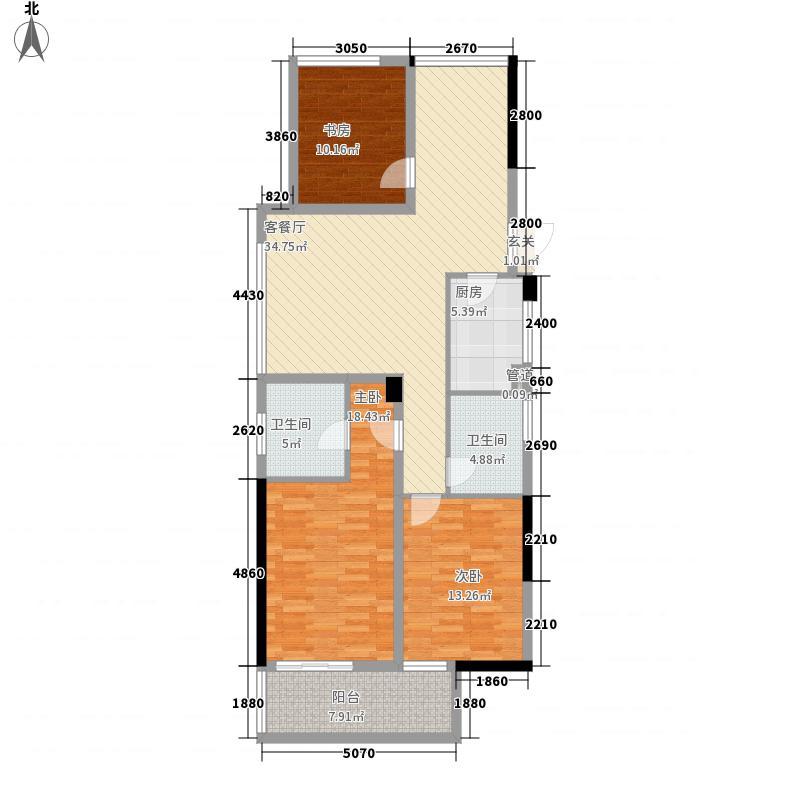 天城府88.00㎡14、15#楼C2户型3室2厅2卫1厨