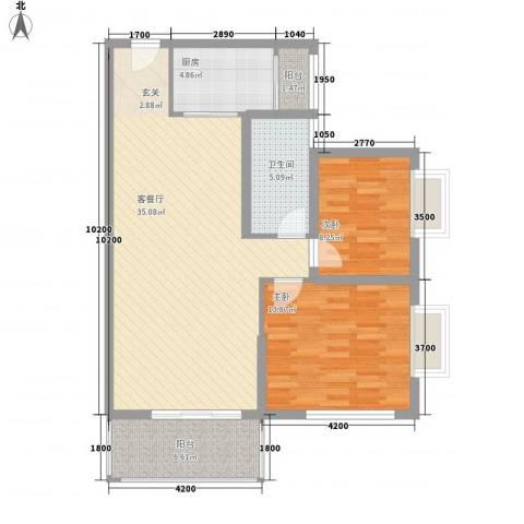 三亚新浪国际公馆2室1厅1卫1厨75.22㎡户型图