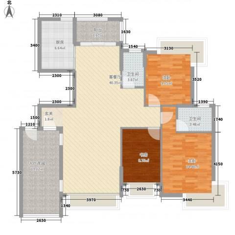 半岛豪庭三期名著3室1厅2卫1厨146.00㎡户型图