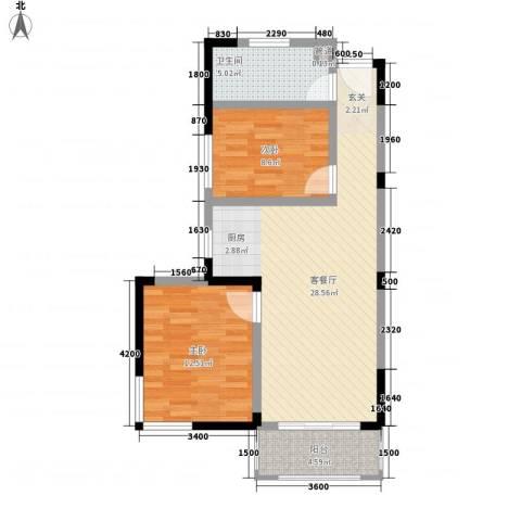 春江花园2室1厅1卫0厨68.46㎡户型图