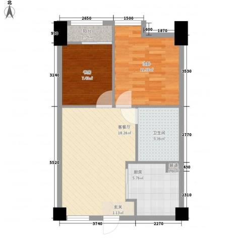 好时光2室1厅1卫1厨50.16㎡户型图
