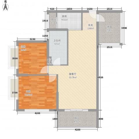 三亚新浪国际公馆2室1厅1卫1厨82.49㎡户型图