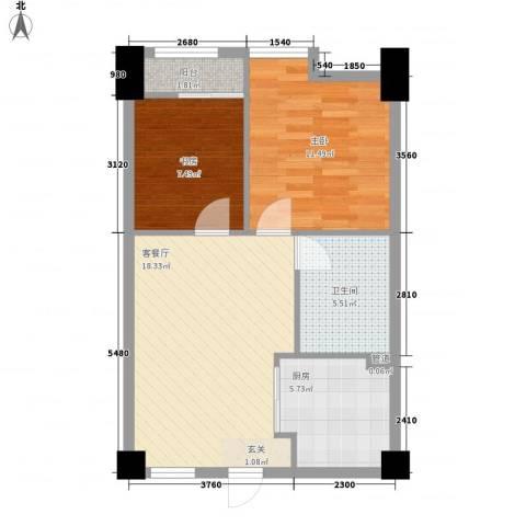 好时光2室1厅1卫1厨71.00㎡户型图