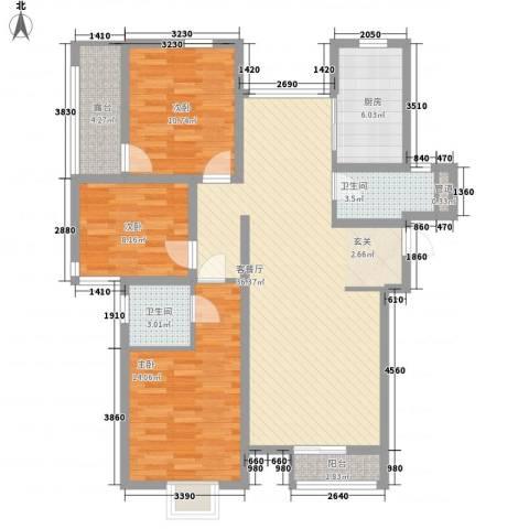 万寿新城3室1厅2卫1厨128.00㎡户型图
