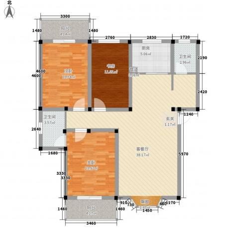 偃师龙腾花园3室1厅2卫1厨138.00㎡户型图