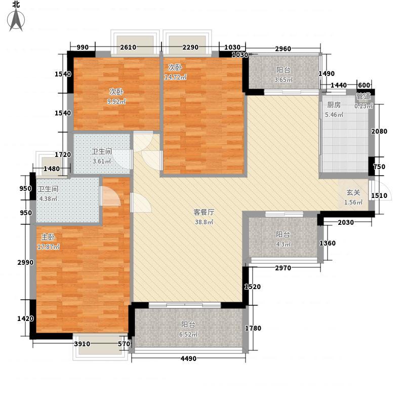 豪家名苑135.37㎡一期5栋1/2单元标准层01/03户型3室2厅2卫