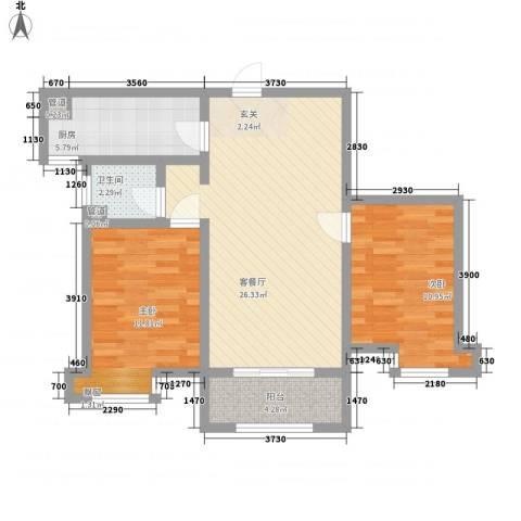 众诚五福苑2室1厅1卫1厨61.76㎡户型图
