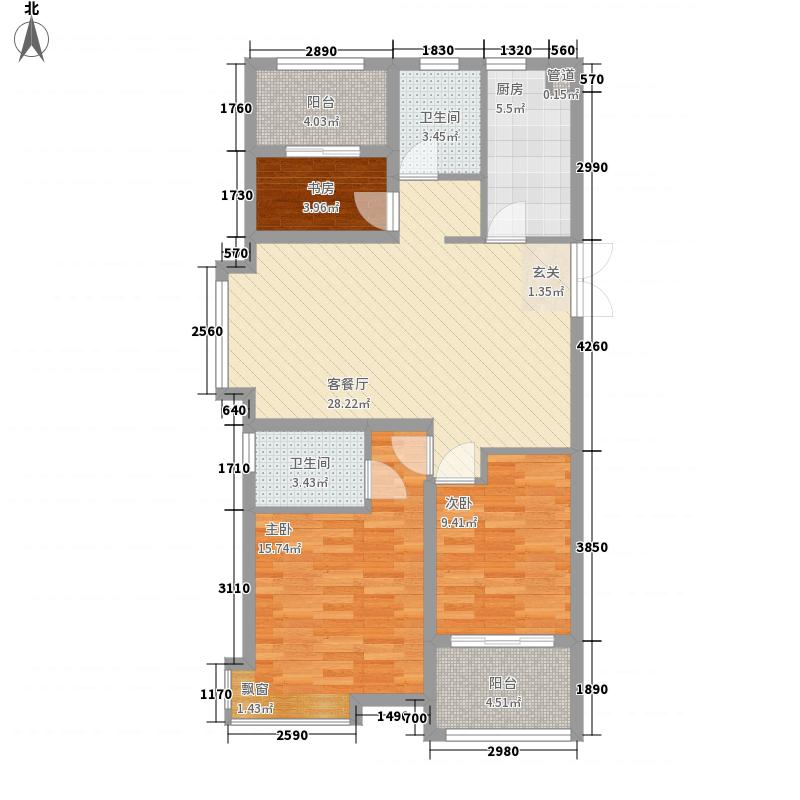 天颐郦城113.54㎡三期19#A户型3室2厅1卫1厨