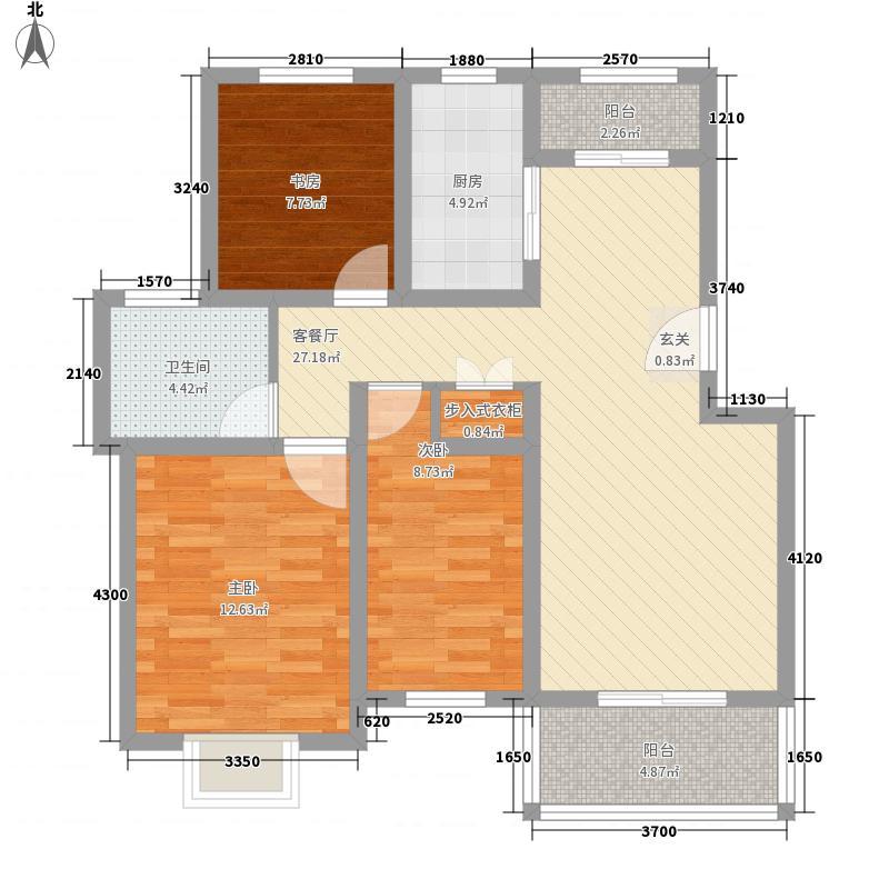 金地华府17.00㎡1#-3#边户B户型3室2厅1卫1厨