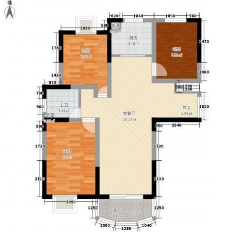 亚东观云国际公寓3室1厅0卫1厨104.00㎡户型图