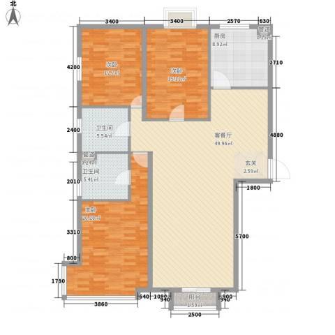 园艺御景3室1厅2卫1厨166.00㎡户型图