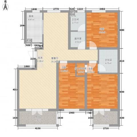 鸿凯花园三期3室1厅2卫1厨140.00㎡户型图
