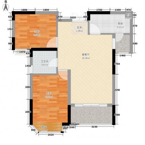 德晟君园2室1厅1卫1厨90.00㎡户型图