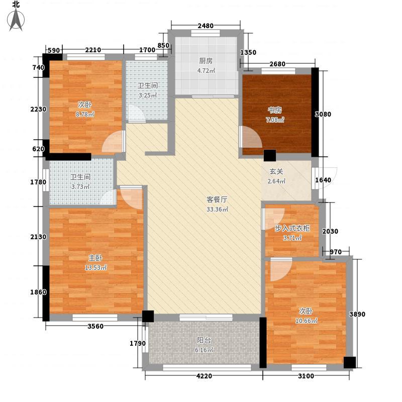 中国铁建山语城134.00㎡C户型4室2厅1卫1厨