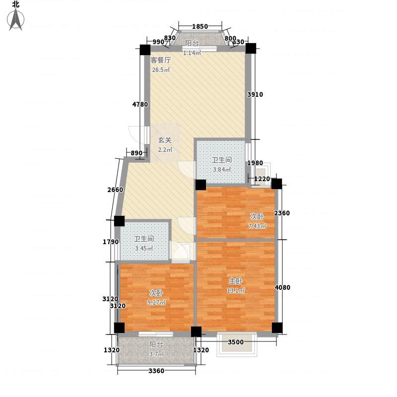 金辉莱茵城85.74㎡金辉莱茵城户型图3室2厅2卫1厨户型10室