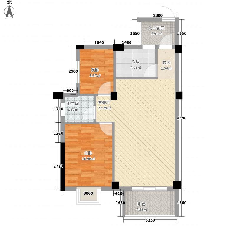 广隆海尚首府81.00㎡一期1、2#B户型2室2厅1卫1厨