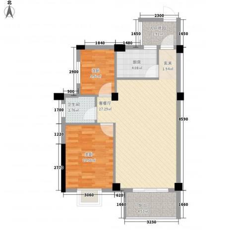 广隆海尚首府2室1厅1卫1厨81.00㎡户型图