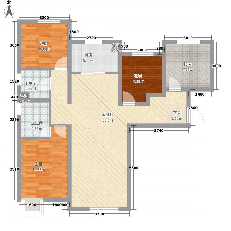 潮白河孔雀英国宫3室1厅2卫1厨123.00㎡户型图