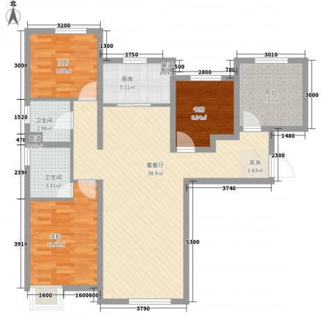 潮白河孔雀英国宫3室1厅2卫1厨98.39㎡户型图