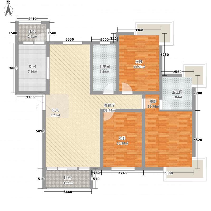 国华印象158.00㎡9#楼高层标准层户型3室2厅2卫1厨