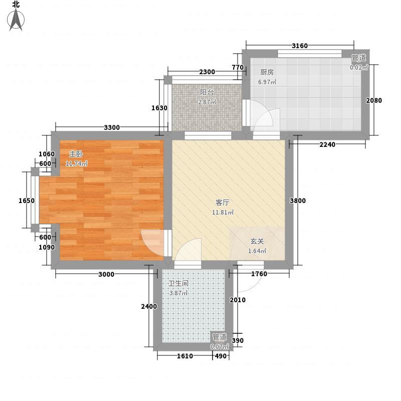 绿海华庭三期优越美域57.30㎡M户型1室1厅1卫1厨