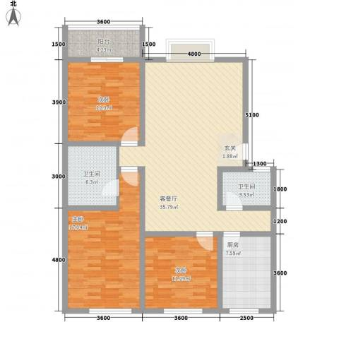 万西苑3室1厅2卫1厨140.00㎡户型图