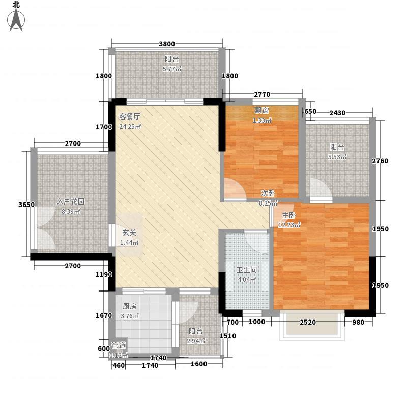 纯棉时代8.40㎡1栋3栋偶数层户型2室2厅1卫1厨