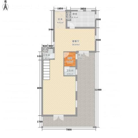 御翠园1室1厅2卫1厨154.00㎡户型图