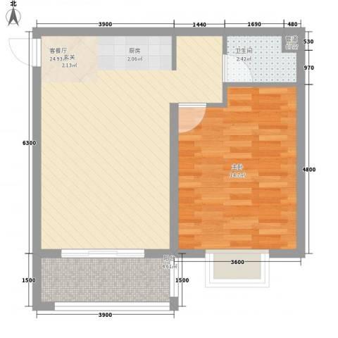 南新悦城1室1厅1卫0厨66.00㎡户型图