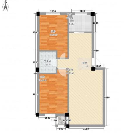谷和温馨苑2室1厅1卫1厨82.00㎡户型图