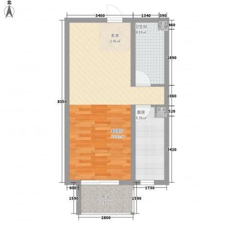 北部时光1厅1卫1厨59.00㎡户型图