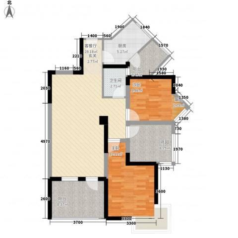 金色池塘2室1厅1卫1厨89.00㎡户型图