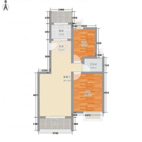 望山公馆2室1厅1卫1厨89.00㎡户型图
