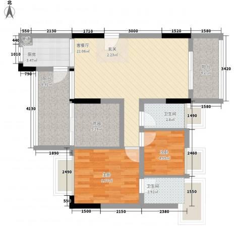 美域华庭2室1厅2卫1厨90.00㎡户型图