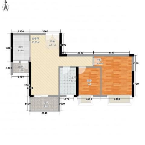 庄士8号2室1厅1卫1厨87.00㎡户型图